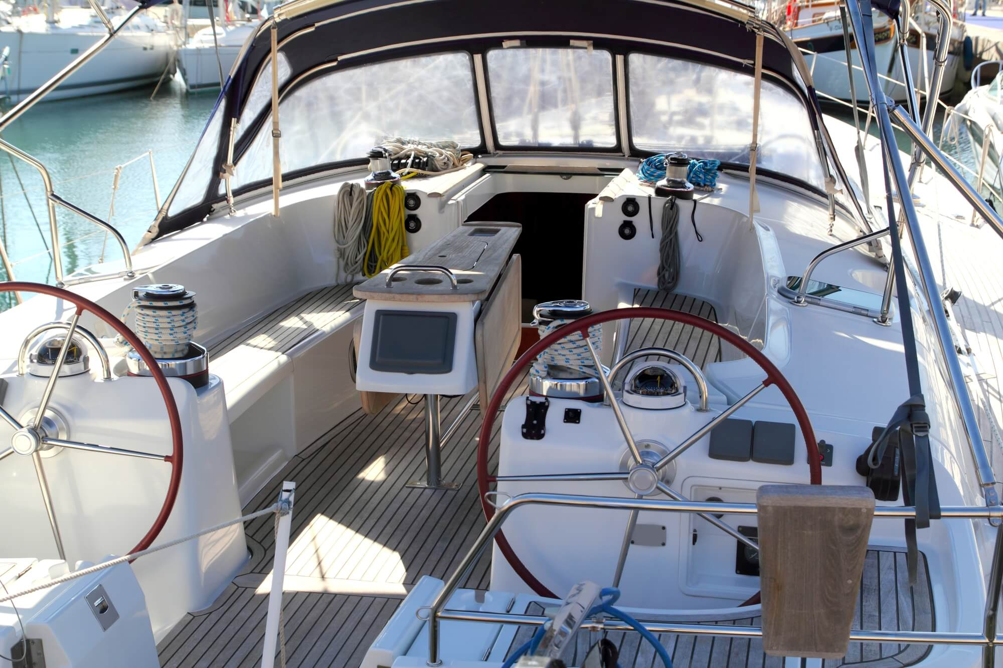 two helm boat interior